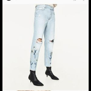 Zara distressed embroidered mom jeans